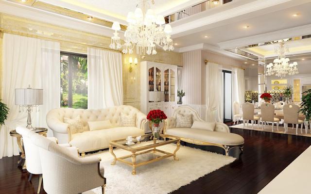 Phối cảnh phòng khách khi hoàn thành của căn hộ 99m2
